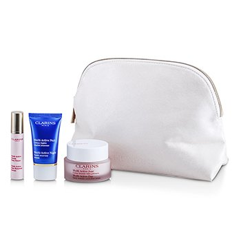ClarinsMulti-Active Set: Day Cream 50ml + Night Cream 15ml + Skin Renewal Serum 10ml + Bag 3pcs+1bag