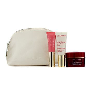 ClarinsInstant Smooth Perfecting Touch Set: 1x Instant Smooth Perfecting Touch 15ml + 1x Instant Light Complexion Perfector 10ml + 1x Lip Perfector 5ml 3pcs+1 Bag