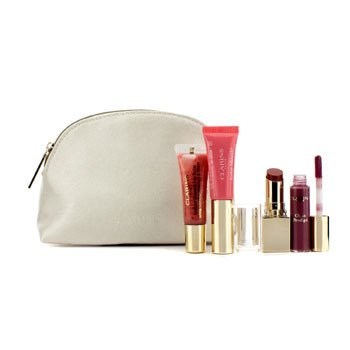 ClarinsLip Color Set: 1x Lipstick + 2x Lip Gloss + 1x Lip Perfector + 1x Bag 4pcs+1 Bag