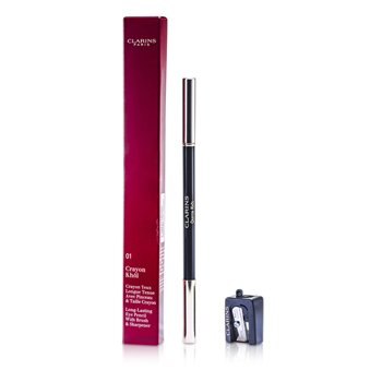 Clarins Long Lasting Eye Pencil with Brush - # 01 Intense Black (With Sharpener) 1.05g/0.037oz