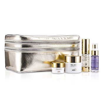 Swissline25th Anniversary Cell Shock Gold Kit: Crema Rica 50ml, Complejo de Ojos 15ml, Crema de Noche 10ml, Esencia 15ml, Bolso 4pcs+1bag