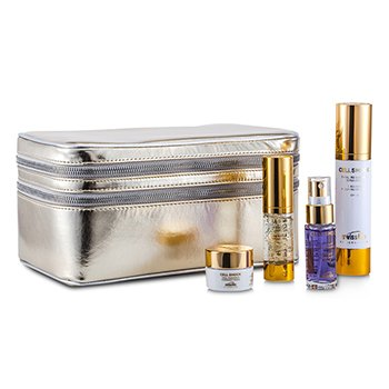 Swissline25th Anniversary Cell Shock Silver Kit: Emulsion 50ml, Eye Complex 15ml, Overnight Cream 10ml, Essence 15ml, Bag 4pcs+1bag