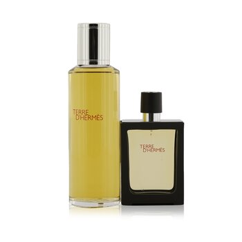 Hermes Terre D'Hermes Pure Parfum Spray Rellenable 30ml/1oz + Repuesto 125ml/4.2oz  2pcs