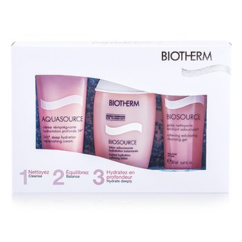 BiothermAqua Trio (Dry Skin): Aquqsource Replenishing Cream 20ml + Biosource Cleansing Gel 20ml + Softening Lotion 30m 3pcs