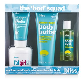 BlissThe Bod Squad Set: Manteca Corporal 200ml + Espuma de Jab�n 120ml + Chica Gorda Adelgaza 170.5g + Crema de Manos 75ml 4pcs