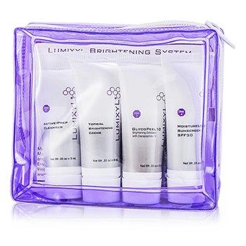 Lumixyl Topical Brightening System (Travel Set): Sunscreen SPF30 9ml + Cleanser 9ml + Creme 9ml + Exfoliator 9ml + 2x Eye Cream 0.5ml 6pcs