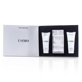 Ermenegildo Zegna Uomo Coffret: Eau De Toilette Spray 100ml/3.4oz + After Shave Balm 100ml/3.4oz + Hair & Body Wash 100ml/3.4oz 3pcs