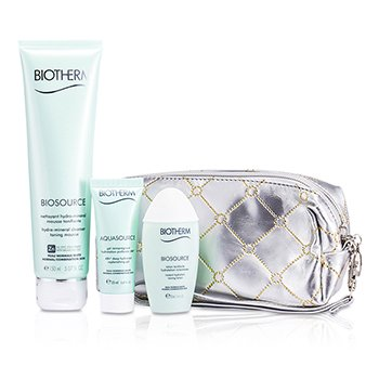 BiothermBiosource Set: Cleanser Toning Mousse 150ml + Deep Hydration Replenishing Gel 20ml + Toning Lotion 30ml 3pcs+1bag