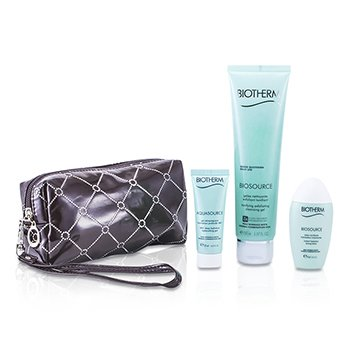 BiothermBiosource Set: Exfoliating Cleansing Gel 150ml + Deep Hydration Replenishing Gel 20ml + Toning Lotion 30ml 3pcs+1bag