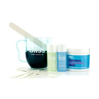 BlissWax to the Max: Super Skin Cleanser 30ml + Post Waxing Oil 30ml + Ingrown Eliminating Pads 50pads + Poetic Waxing Cup 4pcs