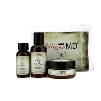 Razor MD RX Trio de Afeitar (Herbal Blend): Loci�n Post Afeitado 60ml + Aceite Pre Afeitado 30ml + Crema de Afeitar 60ml  3pcs