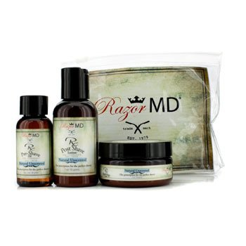 Razor MD RX Trio de Afeitar (Natural Unscented): Loci�n Post Afeitado 60ml + Aceite Pre Afeitado 30ml + Crema de Afeitar 60ml  3pcs