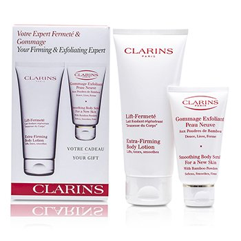 ClarinsBody Set: Extra-Firming Body Lotion 200ml + Smoothing Body Scrub 75ml 2pcs
