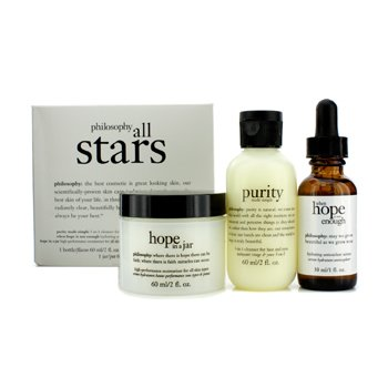 Philosophy All Stars Kit: Purity Made Simple Cleanser 60ml/2oz + When Hope Is Not Enough Serum 30ml/1oz + Hope In A Jar 60ml/2oz  3pcs