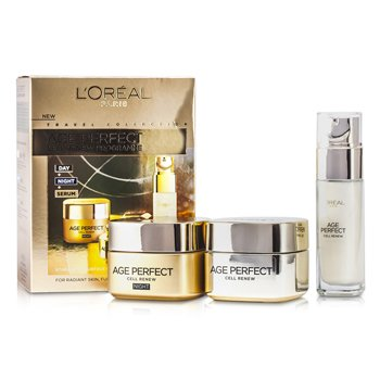 L'OrealAge Perfect Cell Renew Programme: Creme Noturno 50ml + Creme Diurno SPF 15 50ml + Serum 30ml 3pcs