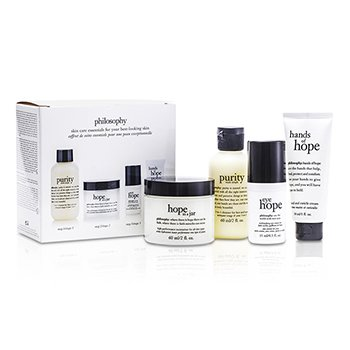 Philosophy Hope for the Best Coffret: Cleasner 60ml/2oz + Mositurizer 60ml/2oz + Eye Cream 15ml/0.5oz + Hand Cream 30ml/1oz  4pcs