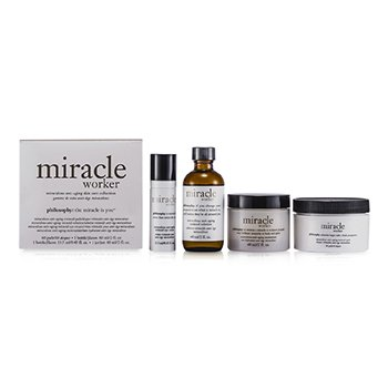 PhilosophyMiracle Worker Miraculous Anti-Aging Skin Care Collection: Retinoid Solution + Retinoid Pads + Mositurizer + Eye Cream 4pcs