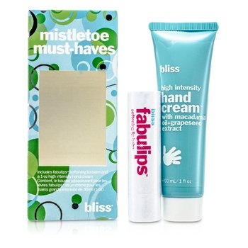 BlissMistletoe Must-Haves Set: High Intensity Hand Cream 30ml + Fabulips Softening Lip Balm 3.12g 2pcs