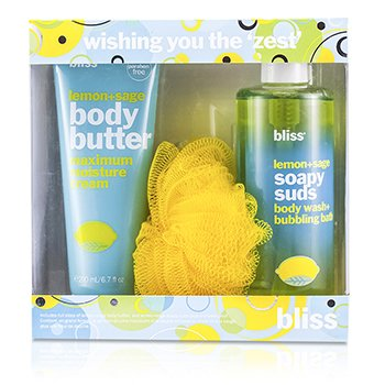BlissWishing You The Zest Set: Lemon + Sage Body Butter 200ml + Body Wash 473.2ml + Shower Pouf 3pcs