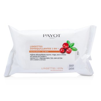 PayotLes Demaquillantes Express 3 in 1 Cleansing Wipes For Face, Eyes & Lips 25 wipes