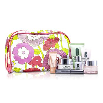 Clinique Travel Set: Facial Soap 30ml + Foaming Cleanser 15ml + Moisture Surge Intense 15ml + Youth Surge Night 15ml + Repairwear Laser Focus 7ml + All About Eyes Serum 5ml + Mascara #01 + Bag 7pcs+1bag