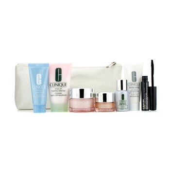 CliniqueTravel Set: Foaming Cleanser 30ml + Moisture Surge Intense 15ml + City Block 15ml + Turnaround Masque 15ml + Repairwear Laser Focus 7ml + All About Eyes 5ml + Mascara #01 + Bag 7pcs+1bag