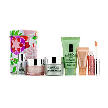 Clinique Travel Set: 7 Day Scrub 30ml + Repairwear Uplifting 15ml + Moisture Surge Intense 15ml + Repairwear Laser Focus 7ml + All About Eyes Serum 5ml + Lipgloss #10 6pcs