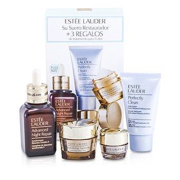 Estee LauderSet Anti Envejecimiento Global: Reparaci�n de Noche Avanzada II + Crema Revitalizante Suprema + B�lsamo de Ojos + Perfectamente Limpio 4pcs