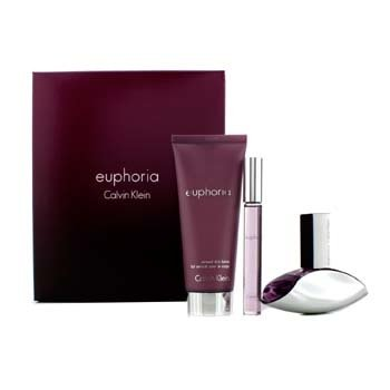 Calvin Klein Bộ Euphoria: EDP 30ml/1oz + Dưỡng Da Thơm Mịn 100ml/3.4oz + Nước Hoa Lăn 10ml/0.34oz  3pcs
