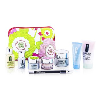 CliniqueTravel Set: Foaming Cleanser + DDML + Turnaround Concentrate + Repairwear Cream + Moisture Surge + Laser Focus + Repairwear Eye Cream + Eyeliner #101 + Bag 8pcs+1bag