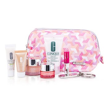 CliniqueTravel Set: Foaming Cleanser + Moisture Surge + Even Better Corrector + Even Better Makeup + Rich Eye Cream + Lipgloss #11 + Key Chain + Bag 7pcs+1bag