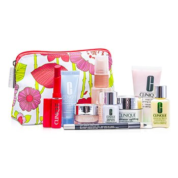CliniqueTravel Set: Cleanser + DDML + Repairwear Cream + Turnaround Concentrate + Moisture Surge + Laser Focus + Eyeliner #101 + Bag 7pcs+1bag
