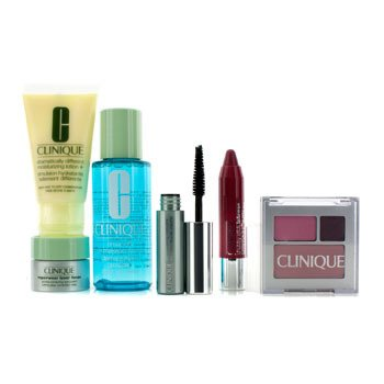CliniqueTravel Set: Eye Makeup Solvent + DDML Plus + Repairwear Eye Cream + Shadow Duo & Blush + Mascara + Chubby Stick #06 + Bag 6pcs+1bag