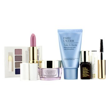 Est�e LauderTravel Set: Makeup Remover + Resilience Lift Face & Neck Cream + ANR II + EyeShadow Palette + Mascara #01 + Lipstick #61 + Bolsa 6pcs+1bag
