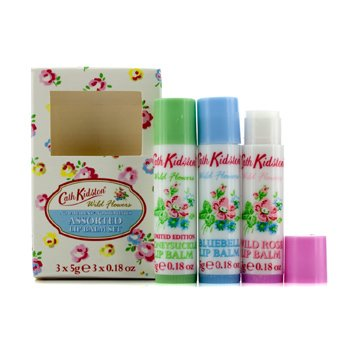 Cath Kidston Wild Flowers Lip Balm Set: Wild Rose 5g + Bluebell 5g + Honeysuckle 5g 3pcs
