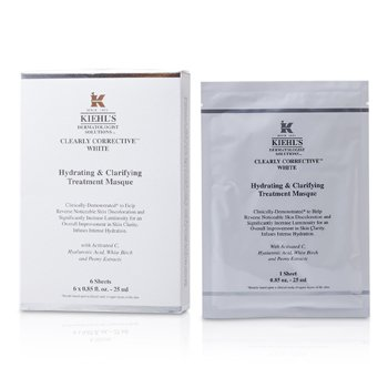 Kiehl's Clearly Corrective White Hydrating & Clarifying Treatment Masque (6 Sheets)  6x25ml/0.85oz