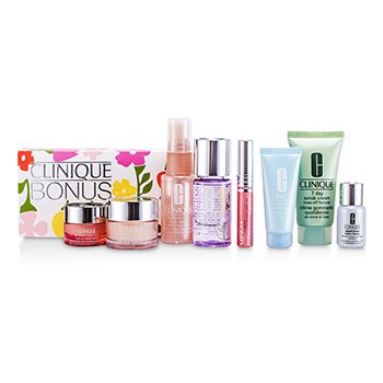 CliniqueTravel Set: Makeup Remover + Scrub + Face Spray + Moisture Surge + Turnaround Mask + Eye Cream + Laser Focus + Lipgloss #10 8pcs