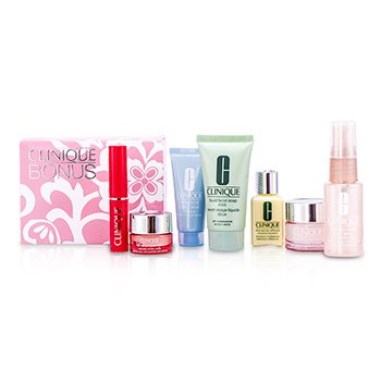 CliniqueTravel Set: Liquid Soap + Face Spray + DDML + Turnaround Mask + Moisture Surge + Eye Cream + Lipstick (Flirty Honey) 7pcs