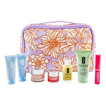 CliniqueTravel Set: 7 Day Scrub + DDML + Moisture Surge + Eye Cream + Turnaround Concentrate + Turnaround Mask + Lipstick (Flirty Honey) + Bag 7pcs+1bag