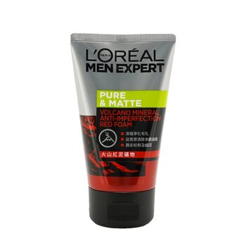 L'Oreal Men Expert Pure & Matte Volcano Red Foam (Tube)  100ml/3.4oz