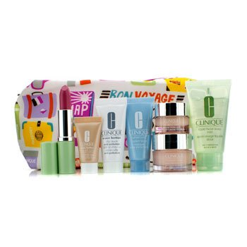 CliniqueTravel Set: Liquid Soap + Moisture Surge + Eye Cream + Turnaround Mask + City Block + Foundation #63 + Lipstick #17 + Bag 7pcs+1bag