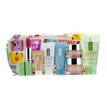 CliniqueTravel Set: Liquid Soap + Moisture Surge + Eye Cream + Turnaround Mask + City Block + Foundation #63 + Lipstick #17 + Bag 7pcs+1bag