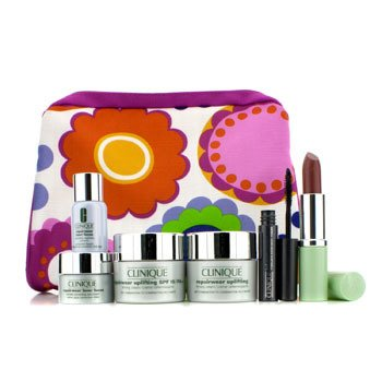 CliniqueTravel Set: Repairwear Day Cream + Night Cream + Laser Focus + Eye Cream + Mascra #01 + Lipstick (Blushing Nude) + Bag 6pcs+1bag