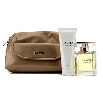 Versace Vanitas Coffret: Eau De Toilette Spray 100ml/3.4oz + Body Lotion 100ml/3.4oz + Bag  2pcs+1Bag