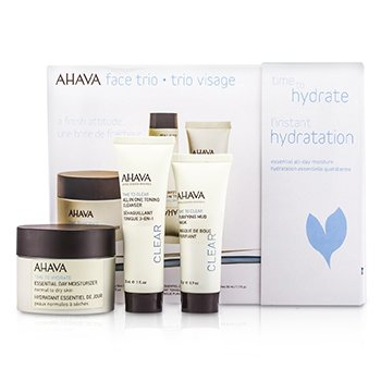 Ahava Time To Hydrate Face Trio: Essential Day Moisturizer 50ml + Purifying Mud Mask 25g + All In One Toning Cleanser 30ml 3pcs