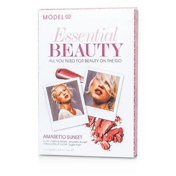 ModelCo Essential Beauty (1x Blush Cheek Powder  1x Shine Ultra Lip Gloss) - Amaretto Sunset 2pcs