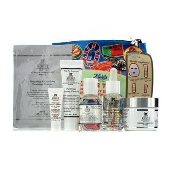 Kiehl'sClearly Corrective White Set: Clarifying Cream + Toner-Penyegar + Cleanser-Pembersih + Masque-Masker + UV Defense SPF 50 + Tas 6pcs+1bag