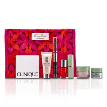 Clinique Travel Set: Moisture Surge + CC Cream + Eye Cream + Makeup Palette + Mascara & Lipgloss + Lipstick #15 + Nail Polish + Bag 7pcs+1bag
