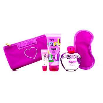 Moschino Pink Bouquet Coffret: Eau De Toilette Spray 100ml/3.4oz + Loci�n Corporal 100ml/3.4oz + Brillo de Labios 10ml/0.3oz + M�scara de Dormir  4pcs