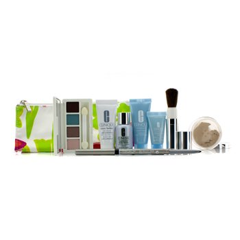 CliniqueTravel Set: Laser Focus + City Block + Turnaround Mask + Concentrate + Face Powder #20 + 4 Colors Eye Shadow + Eyeliner + Brush + Bag 8pcs+1bag